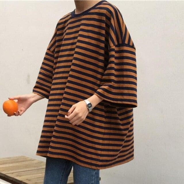 Oversized Striped Tee - authentic Asian fashion from Korea, Japan and China.