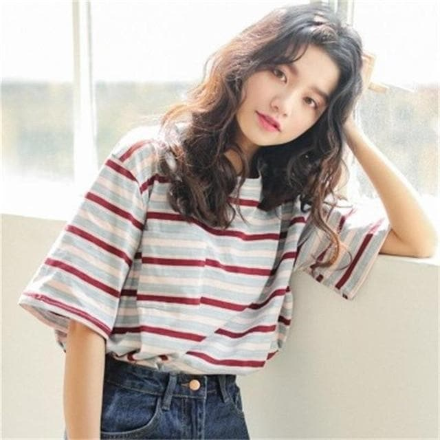 Striped T-Shirt with Half Sleeves - authentic Asian fashion from Korea, Japan and China.