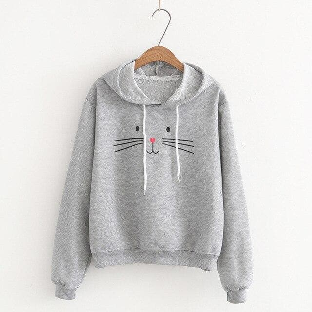 Cat Face Hoodie - authentic Asian fashion from Korea, Japan and China.