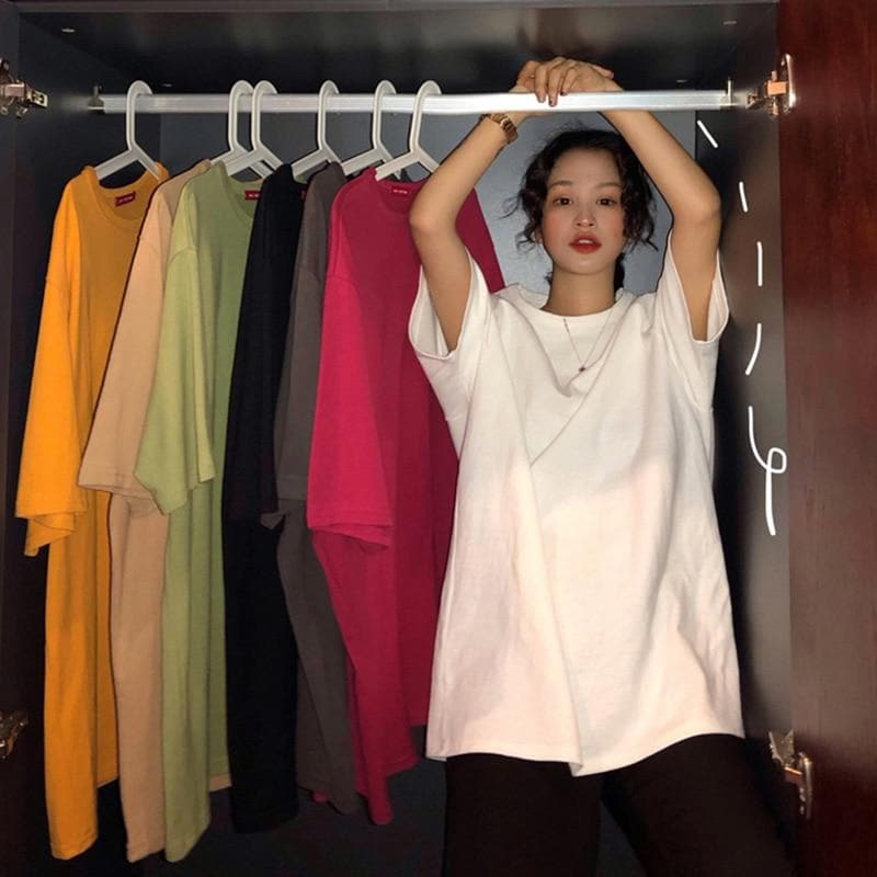 Basic Oversized Tee - authentic Asian fashion from Korea, Japan and China.