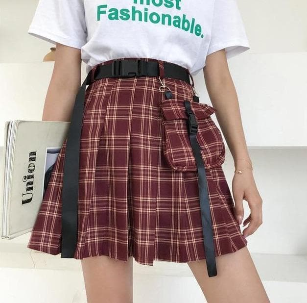 Pleated Plaid Skirt with Belt + Bag - authentic Asian fashion from Korea, Japan and China.