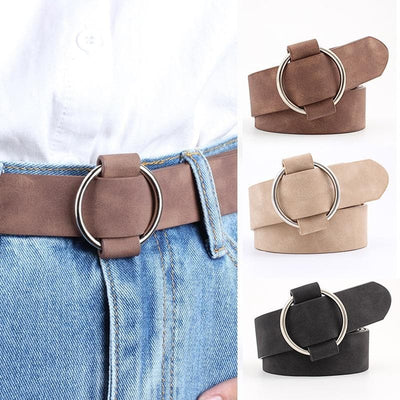 Faux Suede Belt with Round Buckle - authentic Asian fashion from Korea, Japan and China.