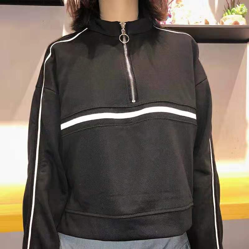Cropped Sweater with Zip - authentic Asian fashion from Korea, Japan and China.