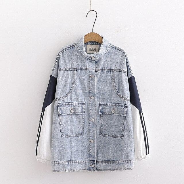 Denim Coat with Patchwork Sleeves - authentic Asian fashion from Korea, Japan and China.