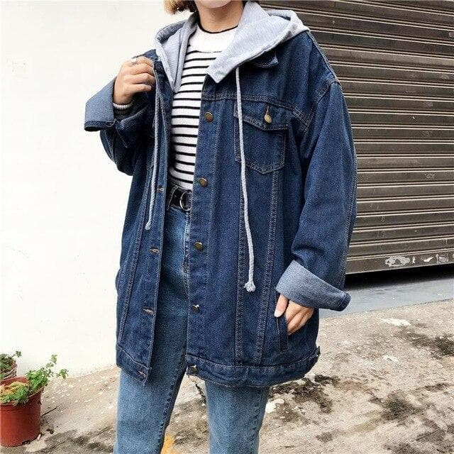 K-FASHION ♥ Hooded Denim Jacket - K-Pop Merch Lianox