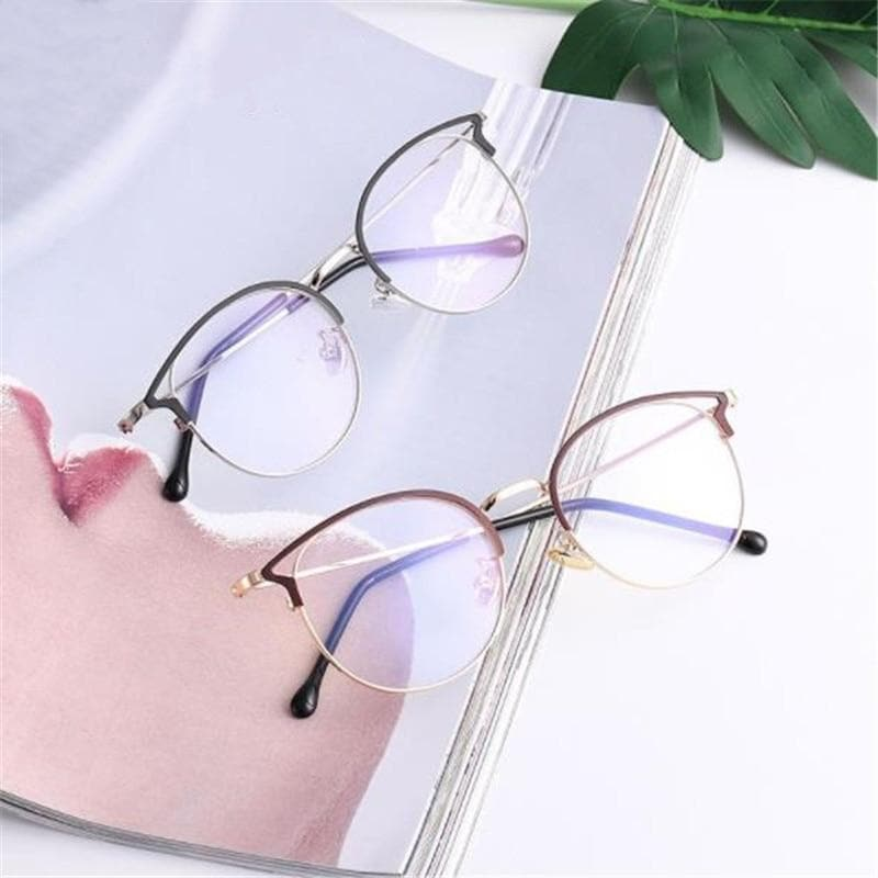K-FASHION ♥ Round Glasses With Cat Eye Frame - K-Pop Merch Lianox