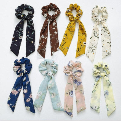 Hair Scrunchie With Flower Print - authentic Asian fashion from Korea, Japan and China.