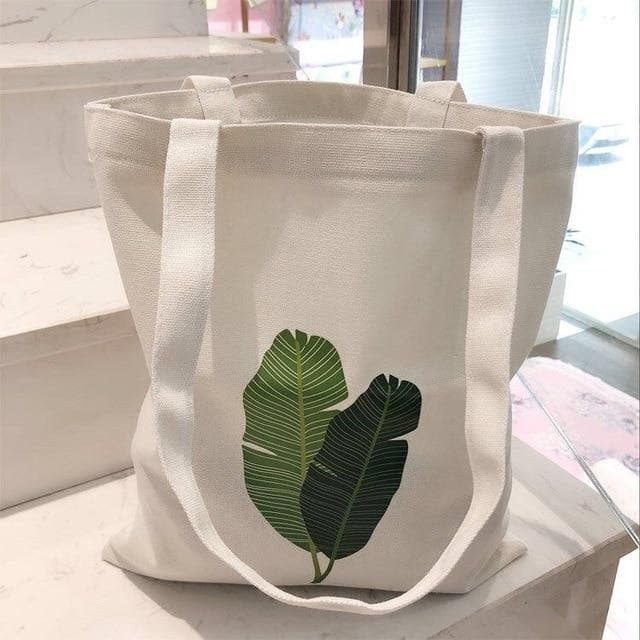 K-FASHION ♥ Tote Bag With Leaf Print - K-Pop Merch Lianox