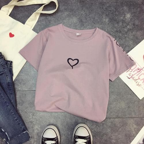 Heart Print T-Shirt - authentic Asian fashion from Korea, Japan and China.