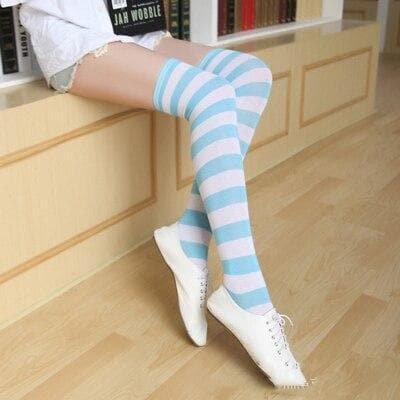 K-FASHION ♥ Striped Over Knee Stockings - K-Pop Merch Lianox
