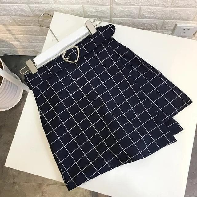 A-Line Plaid Skirt with Heart-Shaped Belt - authentic Asian fashion from Korea, Japan and China.