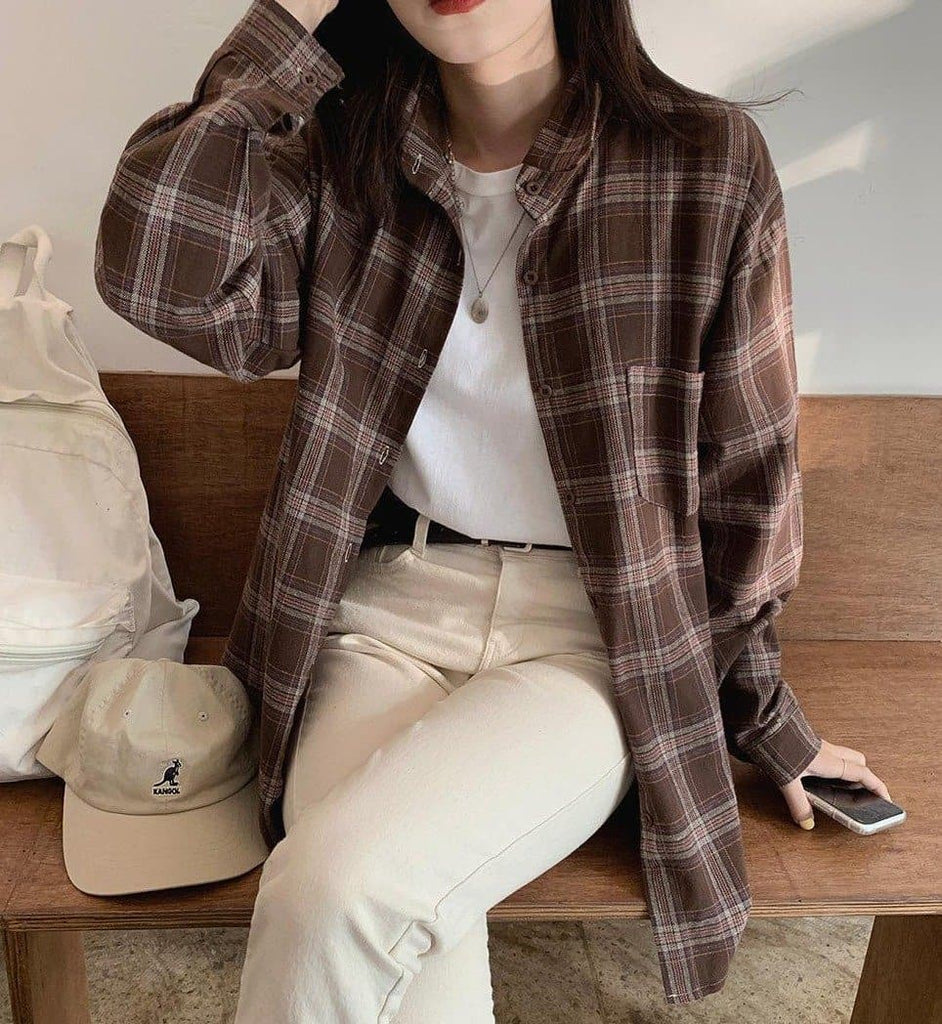 Plaid Cotton Shirt - authentic Asian fashion from Korea, Japan and China.