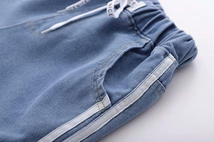 Denim Shorts with Stripe Accents - authentic Asian fashion from Korea, Japan and China.