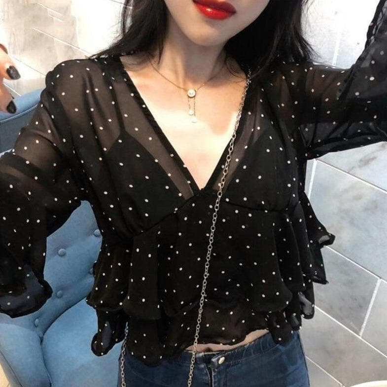 Transparent Ruffled Blouse With Polka Dots