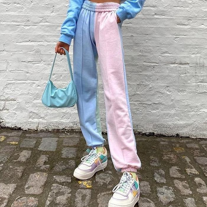 Pastel Patchwork Joggers - authentic Asian fashion from Korea, Japan and China.