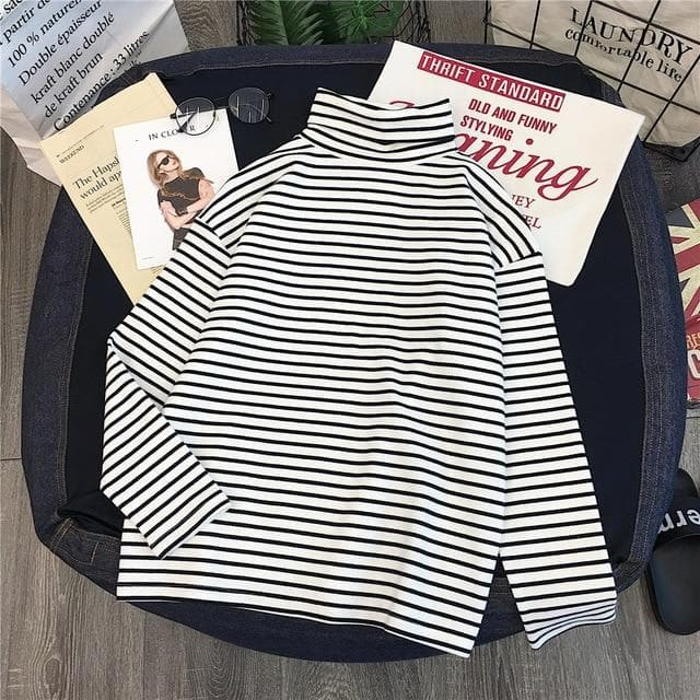 Basic Turtleneck Longsleeve Shirt (Solid + Striped) - authentic Asian fashion from Korea, Japan and China.