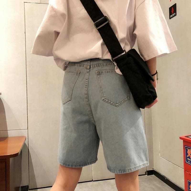 Knee Length Denim Shorts - authentic Asian fashion from Korea, Japan and China.