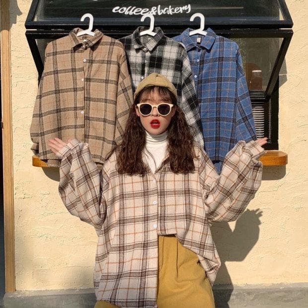 Oversized Plaid Shirt - authentic Asian fashion from Korea, Japan and China.