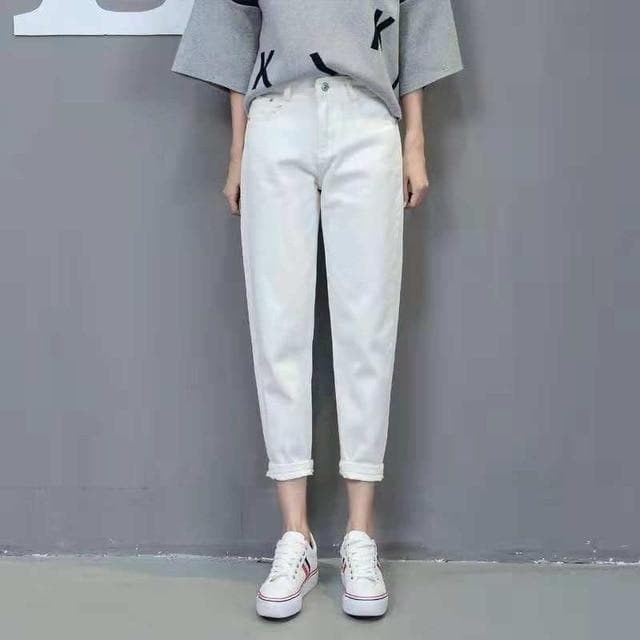 High Waist Pants with + without Ripped Accents - authentic Asian fashion from Korea, Japan and China.