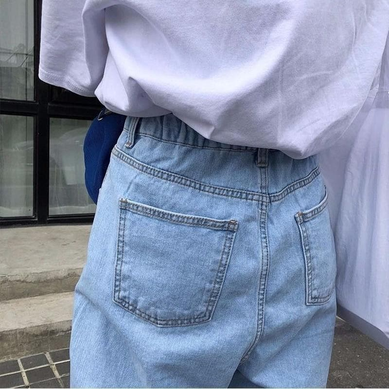 High Waist Wide Leg Denim Pants - authentic Asian fashion from Korea, Japan and China.