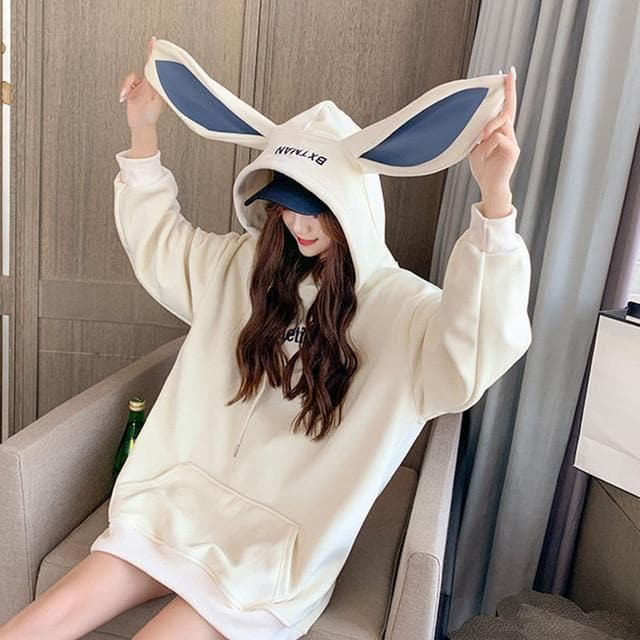 Thick Bunny Ear Hoodie with Velvet - authentic Asian fashion from Korea, Japan and China.