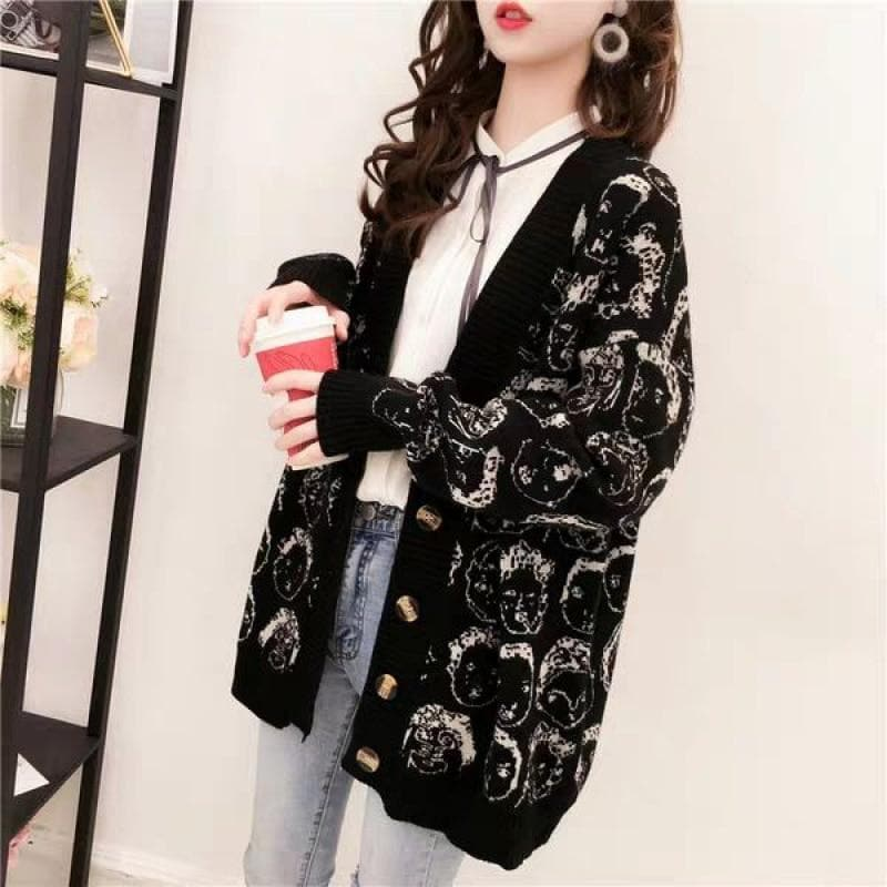 Knit Cardigan with Cartoon Face Pattern - authentic Asian fashion from Korea, Japan and China.