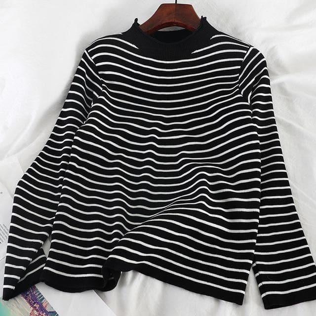 Knitted Turtleneck With Stripes