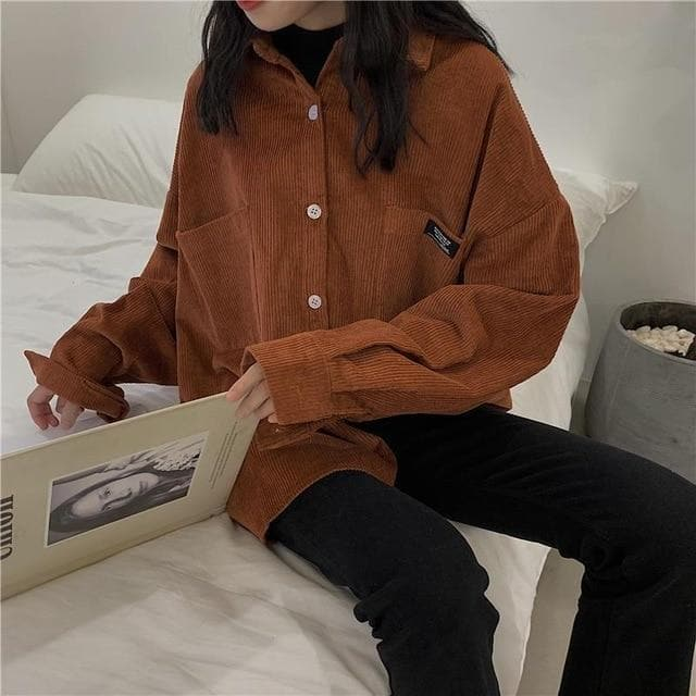 Corduroy Longsleeve Shirt - authentic Asian fashion from Korea, Japan and China.