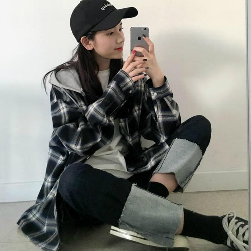 Hooded Plaid Button-Down Shirt - authentic Asian fashion from Korea, Japan and China.