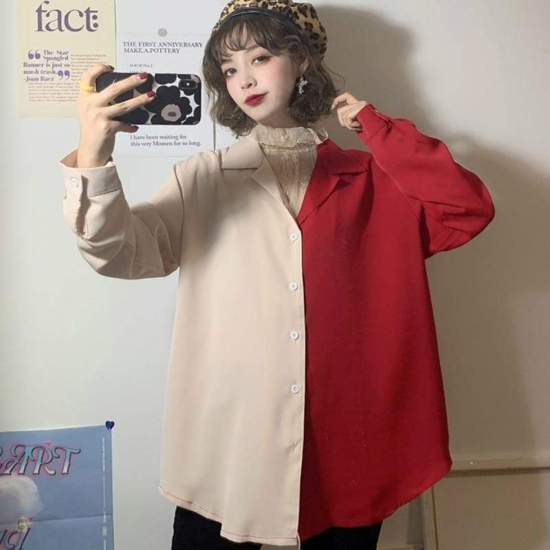 Two-Toned 2-in-1 Buttoned Shirt with Lace Collar - authentic Asian fashion from Korea, Japan and China.