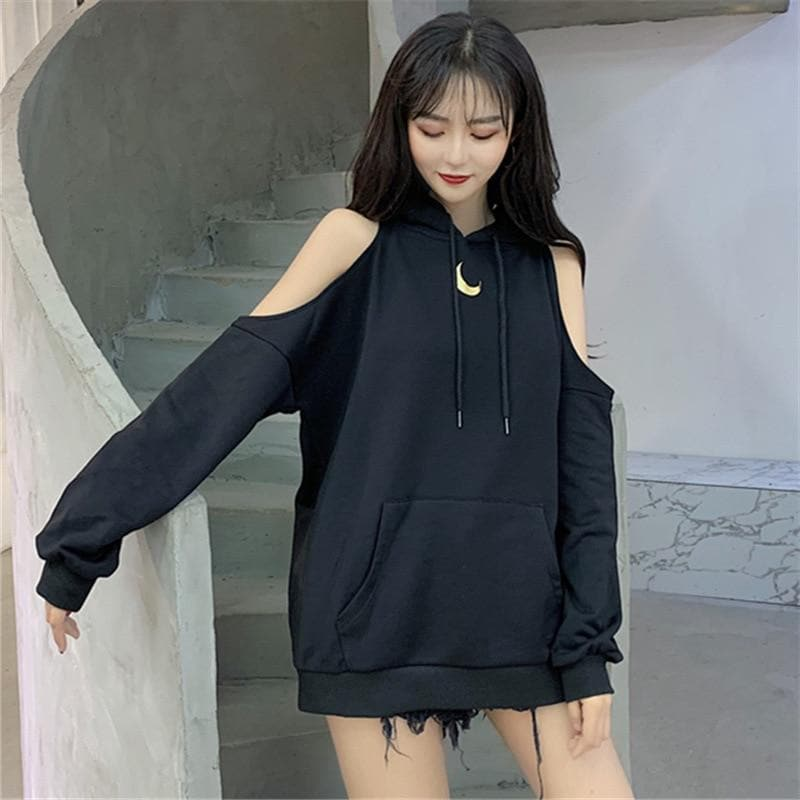 Cold-Shoulder Moon Hoodie - authentic Asian fashion from Korea, Japan and China.