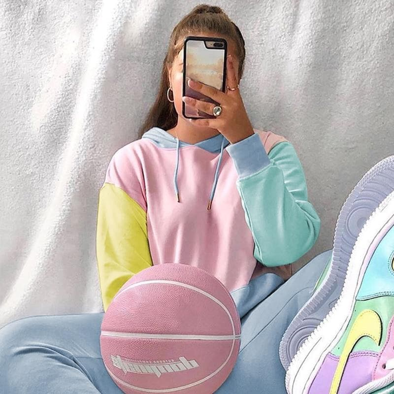 Pastel Patchwork Hoodie - authentic Asian fashion from Korea, Japan and China.