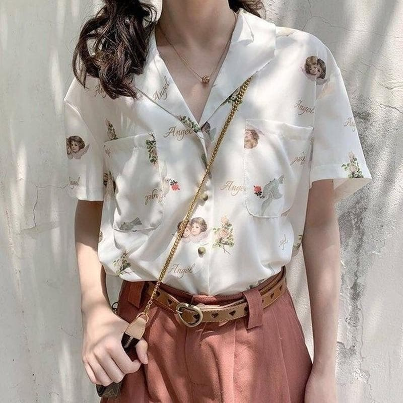 Collared Blouse with Short Sleeves and Angel Print - authentic Asian fashion from Korea, Japan and China.