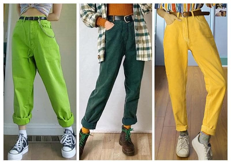 Colorful Straight High Waist Pants - authentic Asian fashion from Korea, Japan and China.