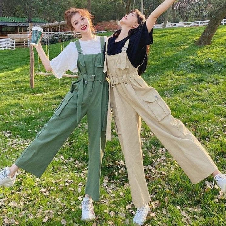 Dungarees With Waist Belt and Pockets