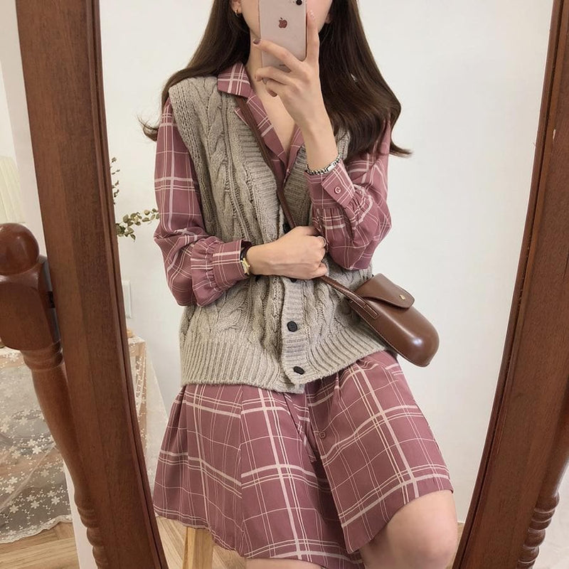 Plaid Button-Down Shirt Dress - authentic Asian fashion from Korea, Japan and China.