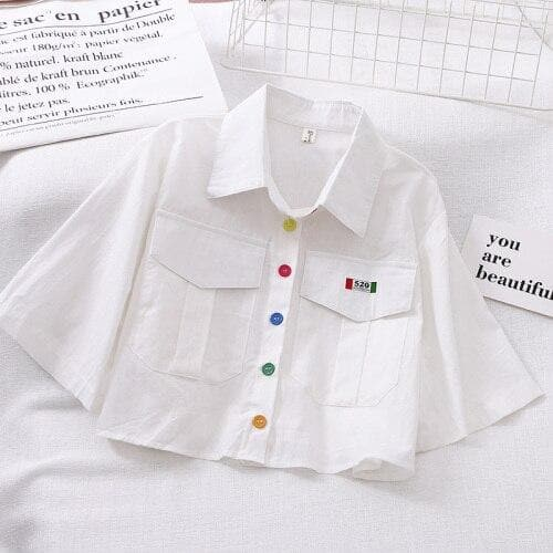 Cropped Blouse With Colorful Buttons and Wide Sleeves
