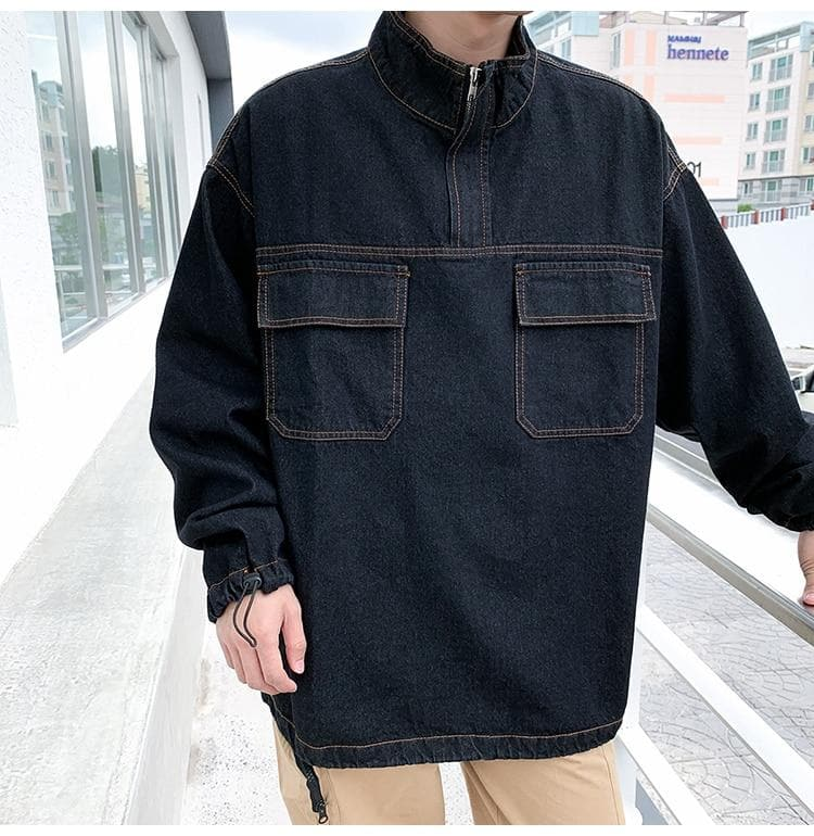 Denim Windbreaker with Pockets - authentic Asian fashion from Korea, Japan and China.
