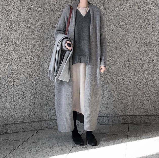 Knitted Long Cardigan - authentic Asian fashion from Korea, Japan and China.