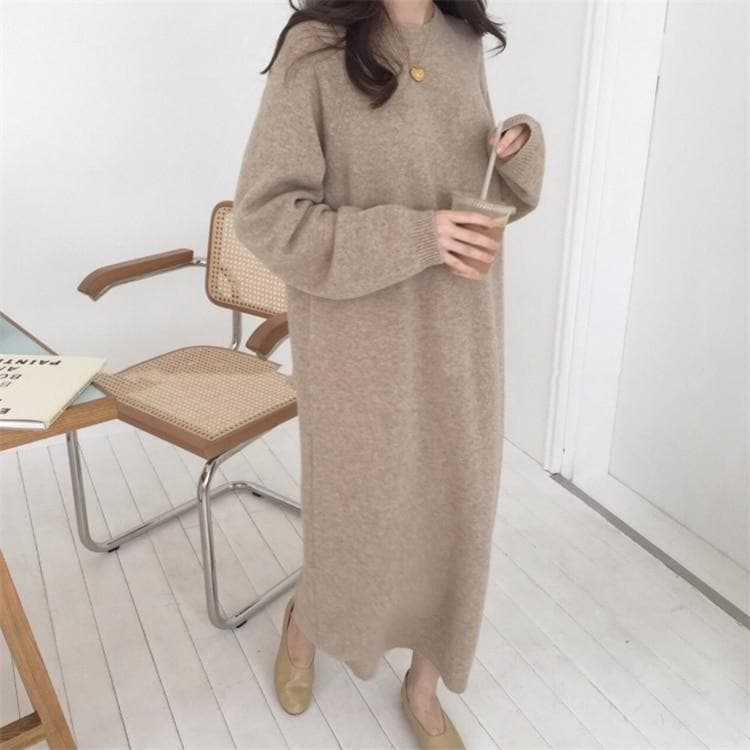 Oversize Knitted Sweater Dress - authentic Asian fashion from Korea, Japan and China.