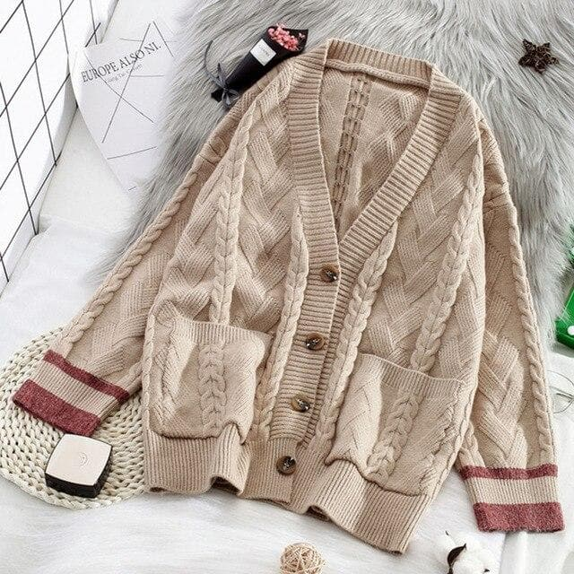 Twist Knit Cardigan - authentic Asian fashion from Korea, Japan and China.