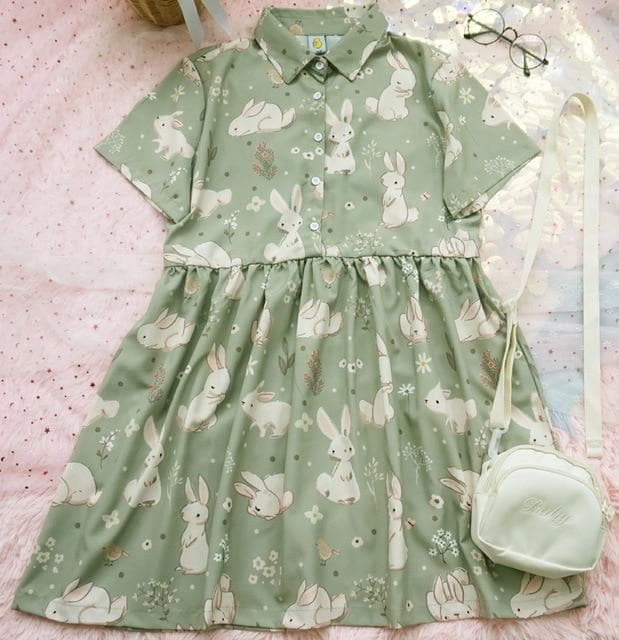 Collared Mini Dress with Bunny Print - authentic Asian fashion from Korea, Japan and China.