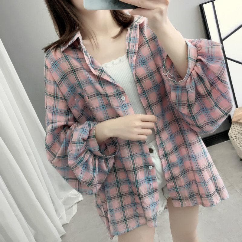 Oversized Plaid Shirt with Balloon Sleeves - authentic Asian fashion from Korea, Japan and China.