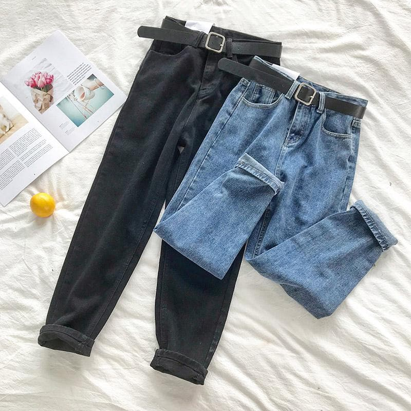 BF Style High Waist Jeans with Belt - authentic Asian fashion from Korea, Japan and China.