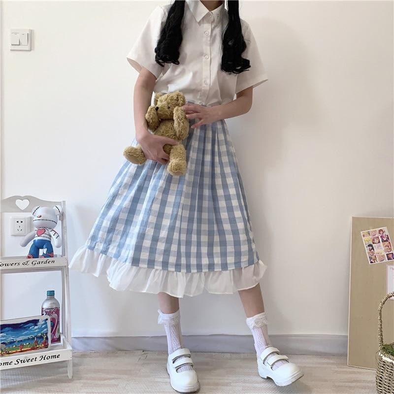 Plaid A-Line Skirt with Ruffled Hem - authentic Asian fashion from Korea, Japan and China.