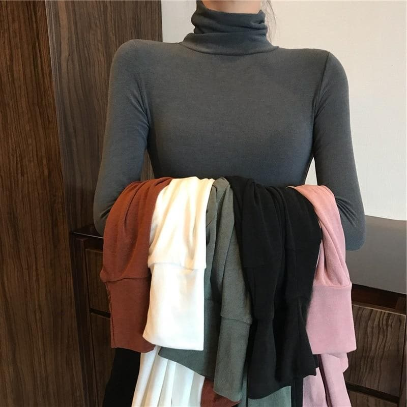 Basic Slim Fit Turtleneck - authentic Asian fashion from Korea, Japan and China.