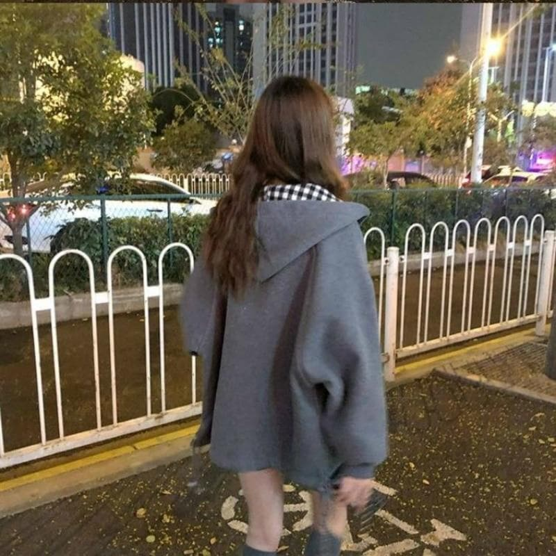 Hooded Jacket with Plaid Pattern - authentic Asian fashion from Korea, Japan and China.