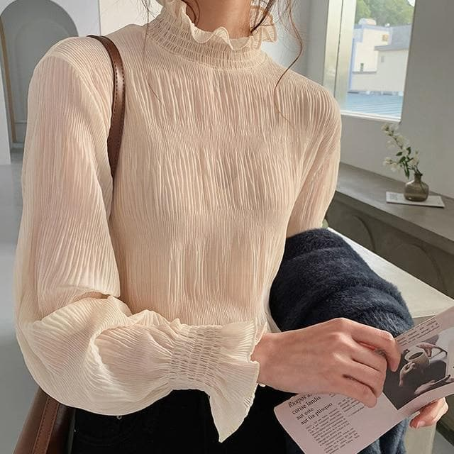 Transparent High-Neck Longsleeve Shirt - authentic Asian fashion from Korea, Japan and China.