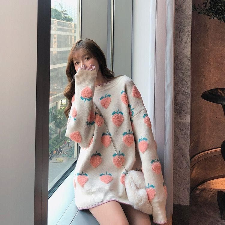 Knit Sweater with Fruit Print - authentic Asian fashion from Korea, Japan and China.