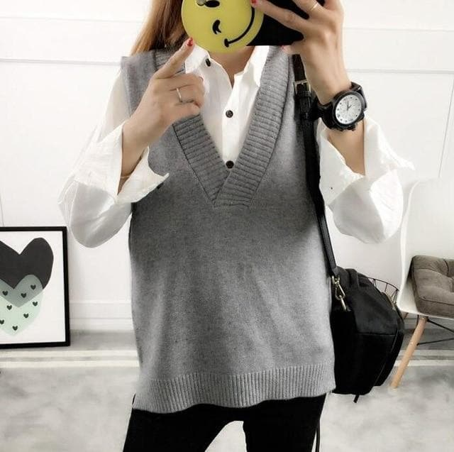 Knit Vest with Low V-Neck - authentic Asian fashion from Korea, Japan and China.